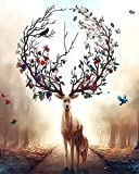 DTnewsun Pintura DIY por números, pintura de base cero pintada a mano, pintura al óleo Kill Time, regalo único para decoración del hogar (sin marco) (40 × 50 cm) (Fantasía del ciervo del bosque)