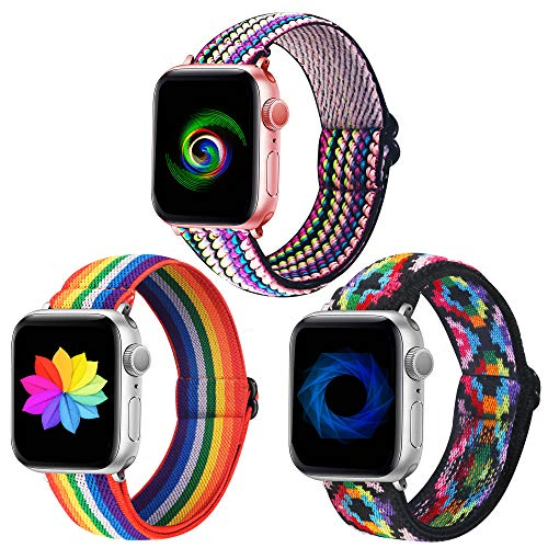Dsytom Adjustable 3 Pack Elastic Band Compatible with Apple Watch Bands 38mm 40mm Stretchy Leopard Pattern Soft Strap Women Replacement Wristband for iWatch Series SE/6/5/4/3/2/1 bands