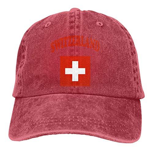 Funny Z Suiza Bandera Unisex Personalizar Denim Casquette Gorra de Béisbol Ajustable Rojo