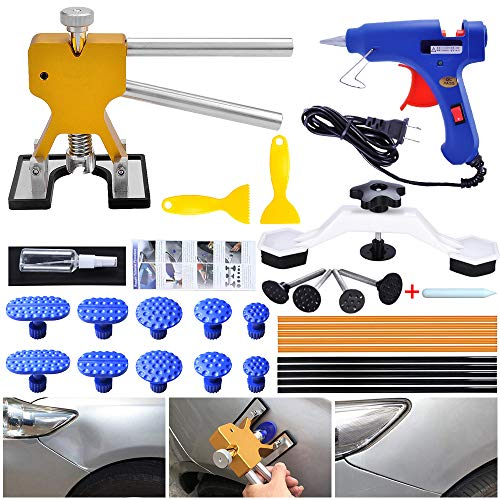 LTGABA Auto Paintless Dent Repair Kit - 32PCS Golden Car Dent Puller with Bridge Dent Puller for Car Hail Damage and Door Dings Repair