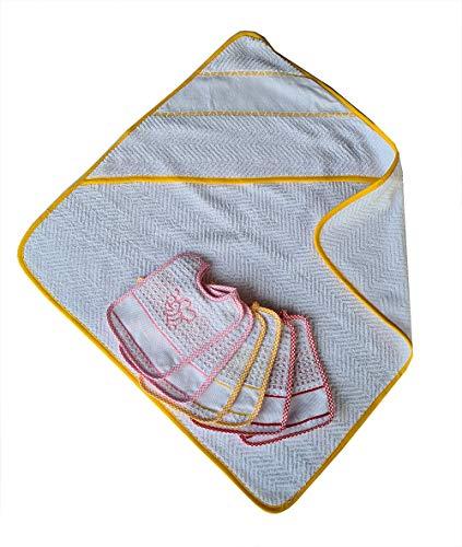 Accappatoio neonato giallo cm 60x60 + 6 bavaglie con laccetto neonata apine cm 15x18 apine con tela aida