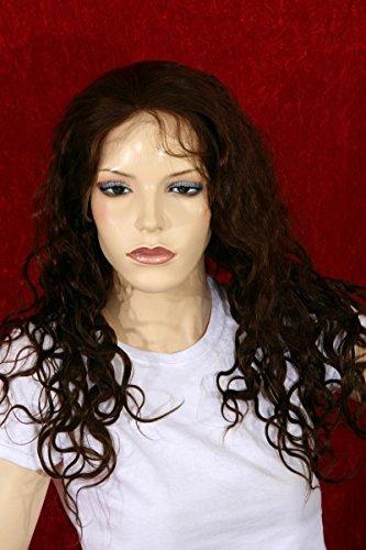 Qubeat Perruque Femmes Longue Brun Vrais cheveaux Bouclé Longueur 46 cm Nouée à la Main