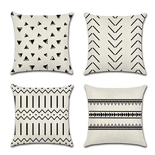 UooMay Throw Pillow Covers Boho Pillowcase - Set of 4, Farmhouse Modern Geometric Cotton Linen Decorative Outdoor Couch Cushion Cover for Bed Sofa Home Decor 18 x 18 inch