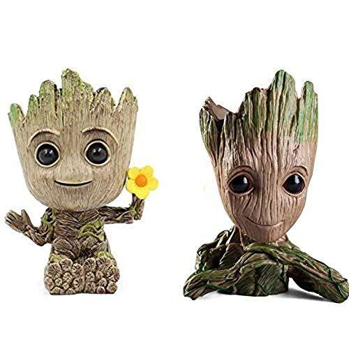 2 Stück Baby Groot Blumentopf Stift Topf PVC Helden Modell Guardians der Galaxie Handwerk Figur zu Hause (Kombination G)