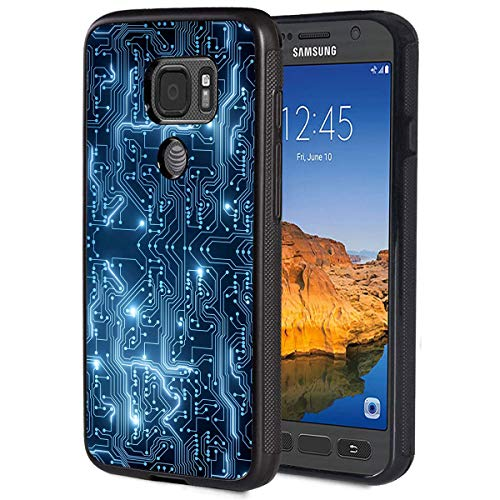 Galaxy S7 Active Case,Electronic Motherboard Anti-Scratch Shockproof Black Silicone Rubber TPU Protective Case Cover for Samsung Galaxy S7 Active (2016)