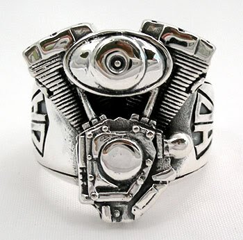 """BRAND NEW MOTORCYCLE ENGINE STERLING SILVER BIKER HARLEY RING JEWELRY / Silver Jewelry Thailand (Ring Size : 6"""" - 14"""" US size) (11 inch)"""