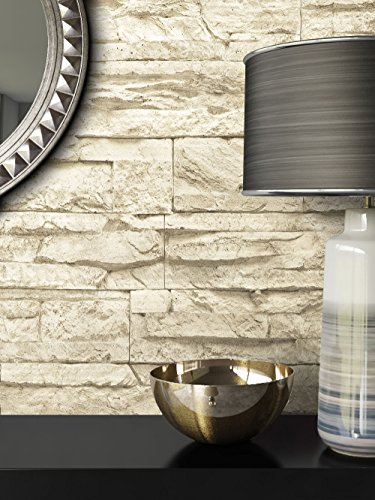 Steintapete Vlies Beige   schöne edle Tapete im Steinmauer Design   moderne 3D Optik für Wohnzimmer, Schlafzimmer oder Küche inklusive der Newroom-Tapezier-Profibroschüre mit Tipps für perfekte Wände