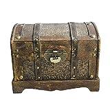 ZIS Caja de madera pirata con cerradura (color: como se muestra, tamaño: 30 x 21 cm)