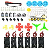 6 Set Dc Motor Kit Homemade DIY Project Kits: DC Motors, Gears, Propellers, AA Battery case, Cables, ON/Off Switch for DIY Science Projects