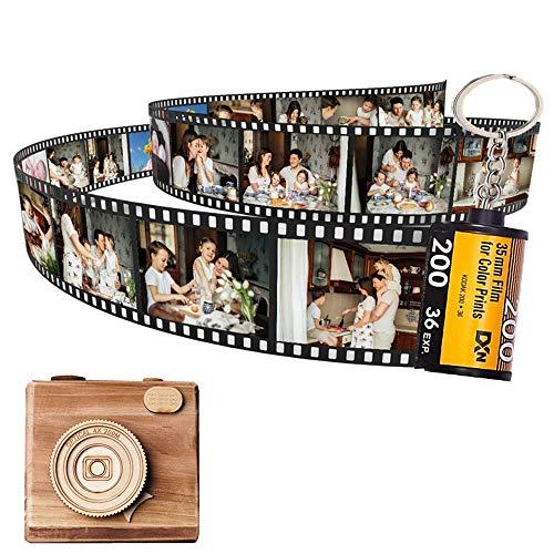 Duroon Llavero de Película de Cámara Llavero Amor Personalizado con Foto/Texto/Imagen/Nombre. para Hombres Mujeres Pareja Mejor