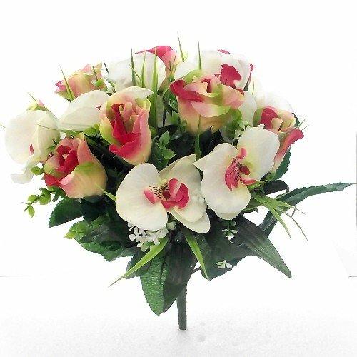 Bouquet di rose e orchidee artificiali, realizzate in seta, Pink, Orange & Ivory, 1 Bunch