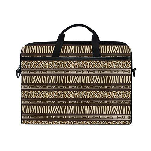 VICAFUCI New 15-15.4 Zoll Laptop Tasche,Umhängetasche,Handtasche,Afirca horizontale Streifen mit Leopard-Haut-Muster-einheimischer Kultur-Inspiration