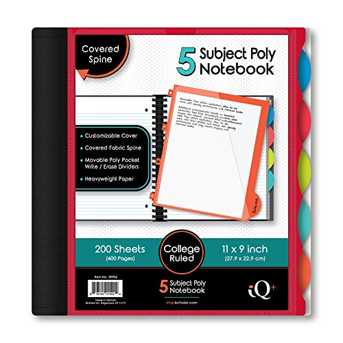 iScholar iQ 5-Subject Poly Cover Wirebound Notebook, College Ruled, 11 x 8.5 Inch Sheet Size, 200 Sheets, Cover Color May Vary (59906)