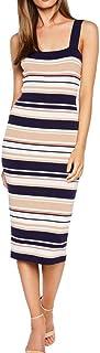 BARDOT Women's Striped Square Neck Tank Knit Bodycon Dress
