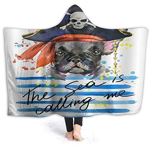 HARXISE Tragbare Hoodie Decke,Haustier Thema Aquarell Pirat Französische Bulldogge...