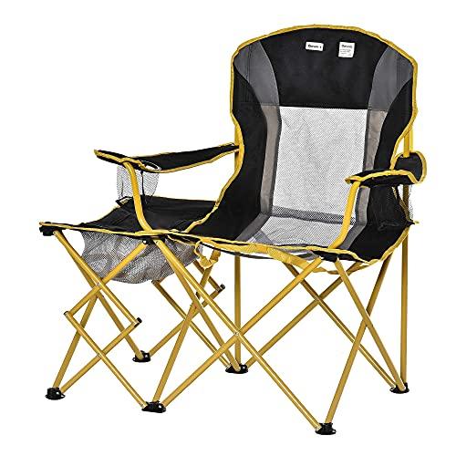 Outsunny Sedia da Campeggio Pieghevole con Tavolino Integrato e Porta Bicchiere, Metallo e Tessuto, 106x60x98cm Nero Giallo