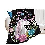 Alibiffy Unicorn Sherpa Fleece Blanket Purple Aqua Pony Throw Blanket Magical Horse Print Plush Blanket for Sofa Clair Bed Office Christmas Throw Blankets40×50'