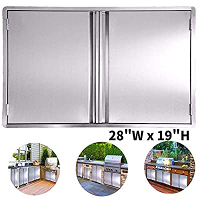 Minneer Outdoor Kitchen Door 28x19 Inch Double Wall BBQ Access Door, 304 All Brushed Stainless Steel Double BBQ Door for BBQ Island, Outside Cabinet, Barbecue Grill,Outdoor Kitchen