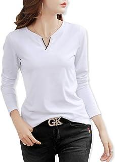 [ハベリィ] V ネック Tシャツ カットソー ロング トップス 長袖 インナー t シャツ レディース
