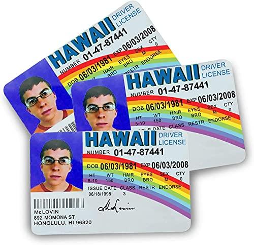 3Pack McLovin Fun Fake ID License Card[2 3/8