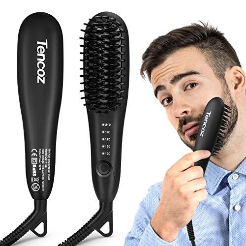 Cepillo Alisador de Barba, Tencoz Plancha de Pelo Barba Peine Alisador, Peine Eléctrico para Hombres con 5 Temperatura Ajustable Anti Escaldado para Viajes/Negocios