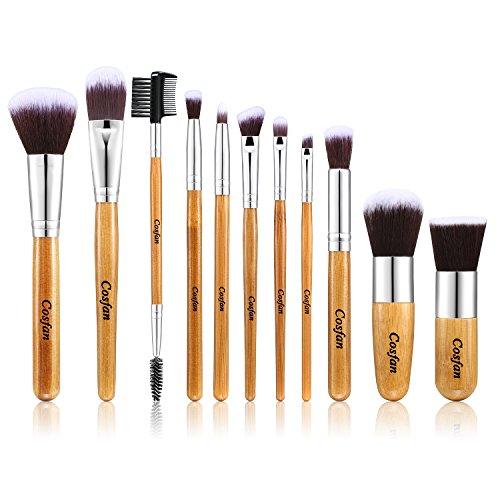 Pinceaux de maquillage 11 Pièces Poignée En Bambou Kabuki Mélange Rougeur Cache-cernes Yeux Visage Poudre Liquide Crème Produits cosmétiques Pinceaux Sets Avec Sac