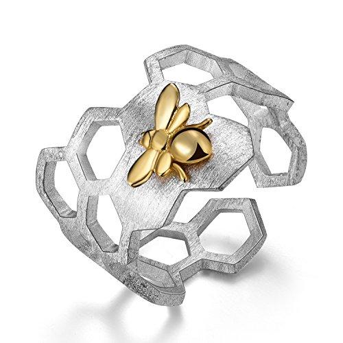 Lotus Fun Damen Ring Biene und Honigwabe Offener Ring S925 Sterling Silber Handgemachte Ringe für Frauen und Mädchen.
