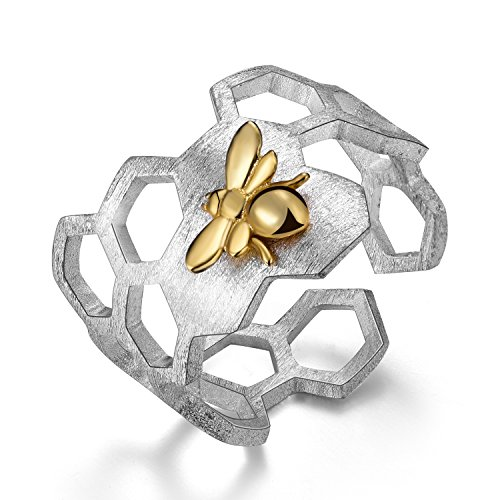 Gift for Mother's DayLotus Fun S925 Sterling Silver Honeycomb Bee Rings Handmade Unique Thumb Ring Natural Open Honeycomb Bee Jewelry Gift for Women and Girls