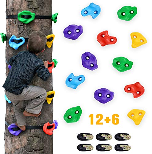 TOPNEW 12 Ninja Tree Climbing Holds for Kids Climber, Adult Climbing Rocks with 6 Ratchet Straps for Outdoor Ninja Warrior Obstacle Course Training