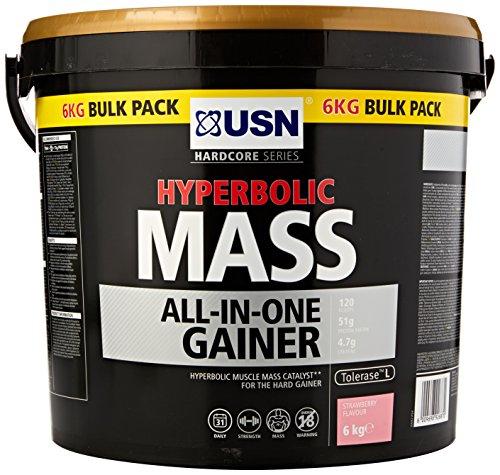 USN Hyperbolic Mass All-In-One Gainer Shake Powder, Strawberry, 6 kg