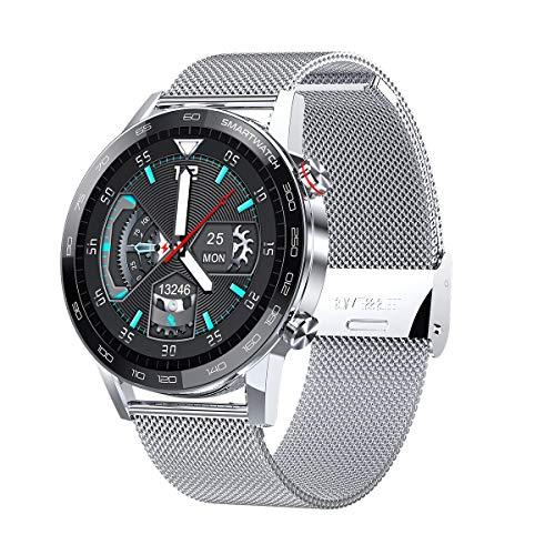 Microwear Herren Damen Smartwatch,IP68 Wasserdicht Sportuhr mit Herzfrequenzmessung,ECG,Blutsauerstoff,Schrittzähler,Schlafmonitor,Stoppuhr,Pulsuhr Fitness Tracker, für iOS Android (Silber)