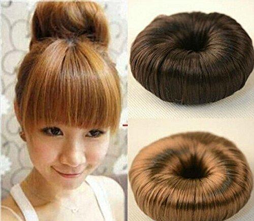 Haarteil Glatter Dutt Haar Knoten Perücke in 3 Farben erhältlich Goldbraun
