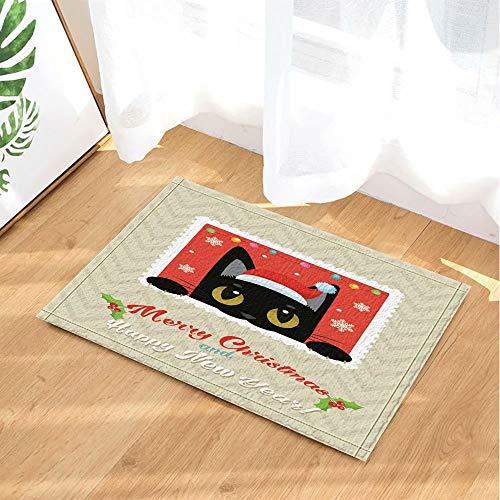 Kerstdecoratie versierd met grappige zwarte kat en kerstmuts Kinderbadkamer tapijt toiletdeur mat woonkamer 40X60CM badkameraccessoires