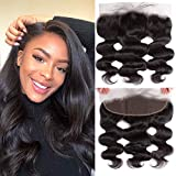13x4 Ear To Ear Lace Frontal 16Inch Body Wave Hair Frontal Closure 130% Density Pre Plucked Hair Line With Baby Hair Natural Color Brazilian Virgin Human Hair