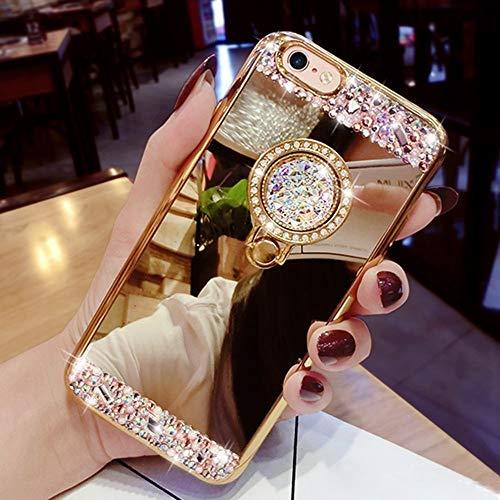 LEMAXELERS Cover Redmi Note 9 PRO,Redmi Note 9 PRO Custodia Glitter Diamante Orso Silicone Specchio Trucco di placcatura con del Supporto del Cavalletto Morbido TPU Custodia Cover,Diamond TPU Gold