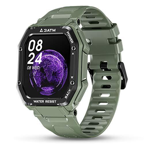 HopoFit Relojes Inteligentes Hombre,Smartwatch Impermeable Deportivo Hombre,Pantalla Táctil Pulsera Actividad Hombre con Pulsómetro Monitor de Sueño Podómetro para iOS Android