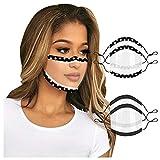 Bandanas de Foulard Tube de sourire avec soupape des bandanas de lecture de lèvre d'expression de Non tissé en vinyle transparent Protection Contre réutilisable Confortable Sport sans Couture