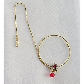 Amazon Com Bollywood Gold Bridal Red Indian Wedding Nose Nath