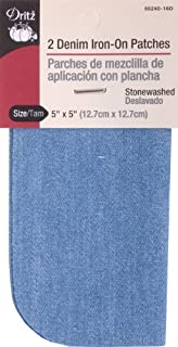 Dritz 55240-16D Patches, Iron-On, Denim, Stonewashed, 5 x 5-Inch (2-Count)