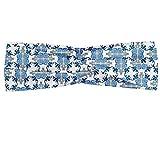 ABAKUHAUS Diadame Tradicional, Banda Elástica y Suave para Mujer para Deportes y Uso Diario Teja romana y Diseño Mosaico con imagen inspirada famoso este posters, Azul amarillo