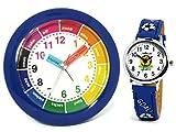 Set: Niños despertador + reloj de pulsera niño azul Analog Niños Reloj–Atlanta 1265–5Kau