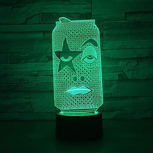 La luz tridimensional Jellyllyy puede controlar la luz táctil 3D Luz creativa USB Luz nocturna LED Luz nocturna Luz de gabinete para niños Movimiento de inducción LED