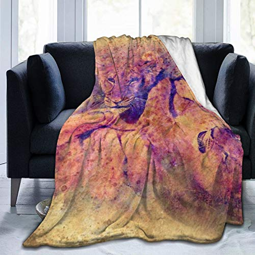 YOLIKA Throw Blanket Lightweight Soft Warm,Two Cute Lion Cubs Playing Together Graphic,Microfiber All Season Living Room/Bedroom/Sofa Couch Bed Flannel Quilt,60' x 80'