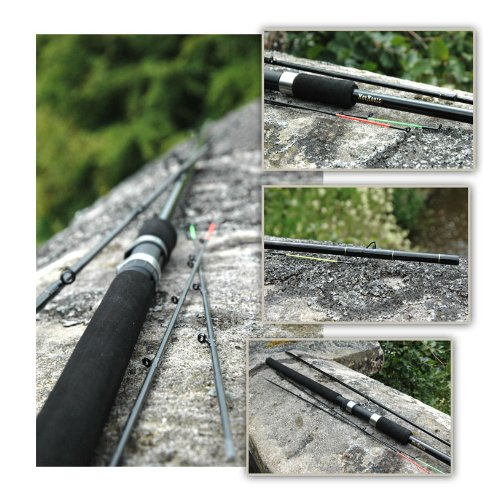 Hot Reels 10' Match Feeder Carp Leger Quiver Tip Fishing Rod with 3 Quiver Tips