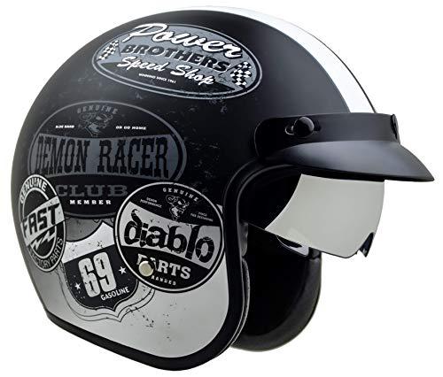 Vega Helmets 87037-053 X390 Retro Open Face Motorcycle Helmet w/Sunshield Unisex-Adult powersports (Old Skool Graphic, Medium)