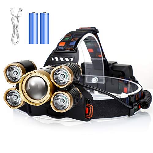 Stirnlampe LED Wiederaufladbar, Hisome USB Wasserdicht Stirnlampe Joggen 1000 Lumens Superheller, Zoombare Kopflampe Akku mit 4 Modi und Verstellbarem Stirnband, Helmlampe für Camping,Angeln