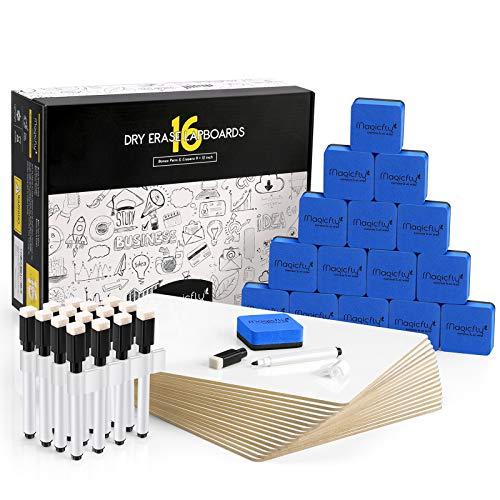 Magicfly Whiteboard Klein A4, 16 Stück Beschreibbar Tafel Doppelseitiges Kleines Desktop Schreibtafel mit Stift, mit 16 Weißwandstifte, 16 Radiergummis & 16 Stiftklammern