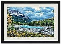 美しい山と川 (N010) 自然風景 壁掛け黒色木製フレーム装飾画 絵画 ポスター 壁画(30x40cm)