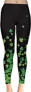 CowCow Womens Green Shamrock St Patricks Day Clover Leaves Leprechauns Leggings, XS-5XL