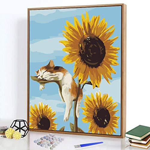 SWWS DIY Ölgemälde zum Aufhängen, Kunstwerke, Heimdekorationen, handgemalt, Malen nach Zahlen, Serie von Blumen, Kreativität, Stil 1